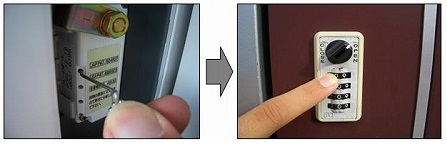 一边按住针,一边转动正面最上方的刻度盘至停止.